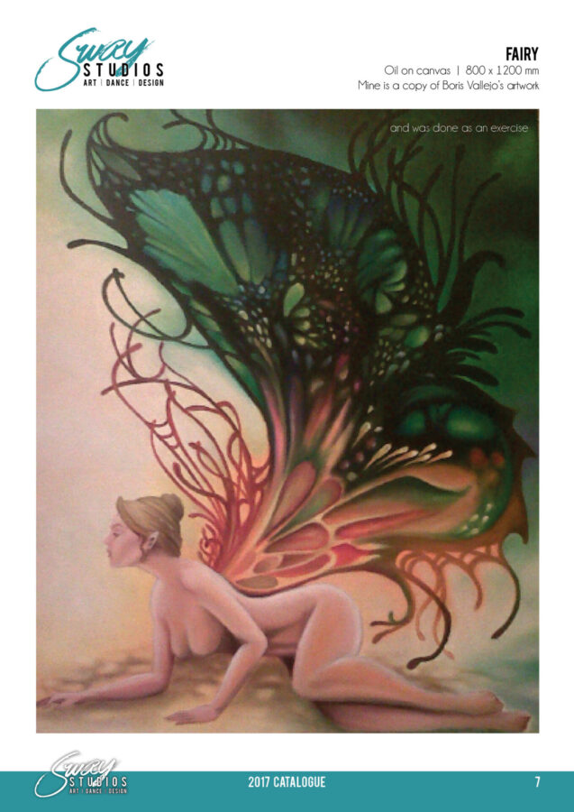 sway studios tracy marais oil painting copy of boris vallejo fairy painting
