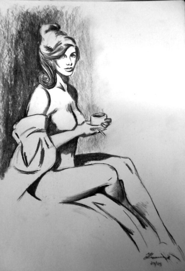 Charcoal Nude sketch - original artist unknown