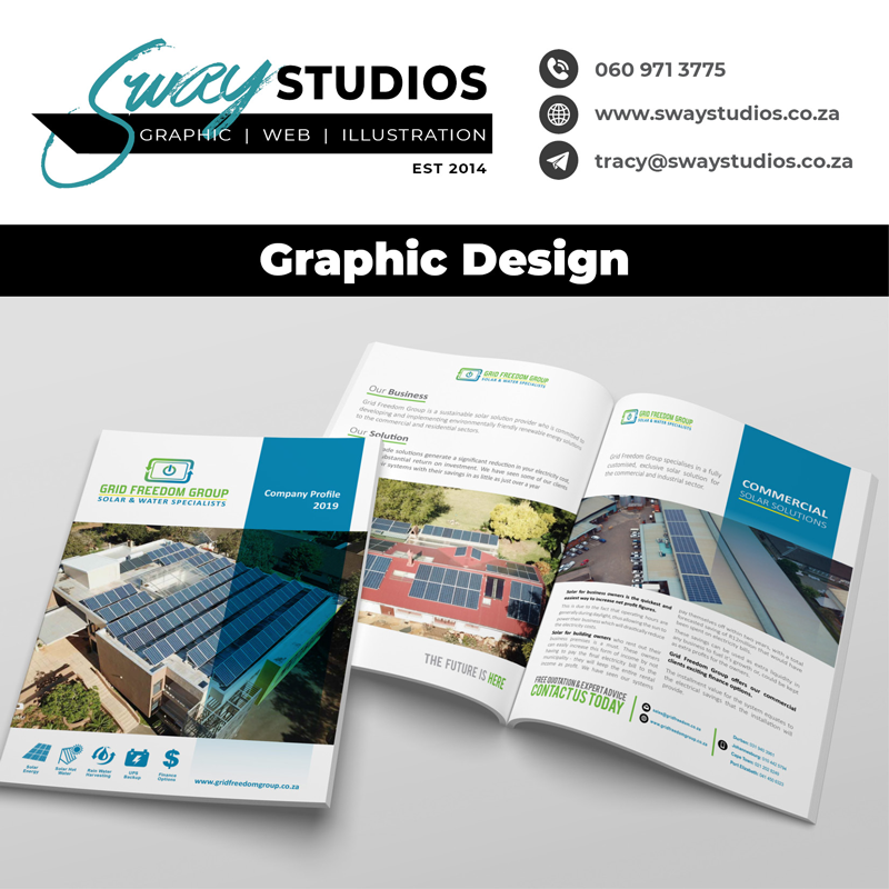 graphic design at sway studios for grid freedom group by Tracy Marais